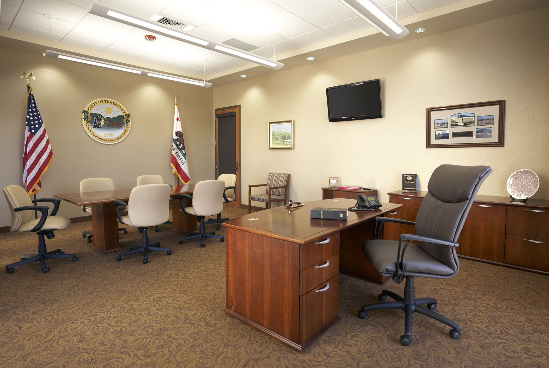 City of Temecula (Temecula, CA) Respect executive/managment and Truimph task/work seating in private office. #NationalOffice #F… | Home, Private office, Home decor