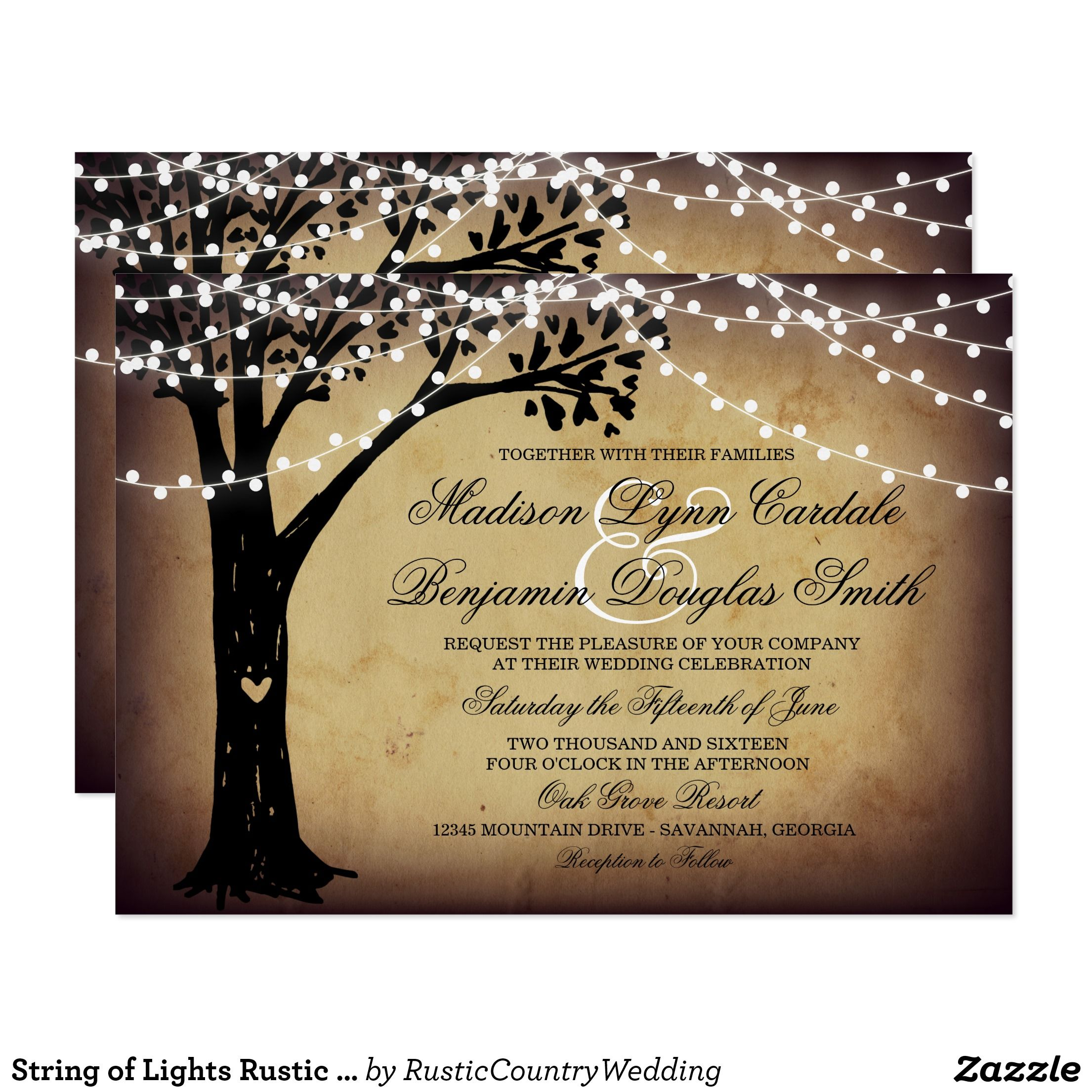 String of Lights Rustic Oak Tree Wedding Invites | Oak tree wedding ...