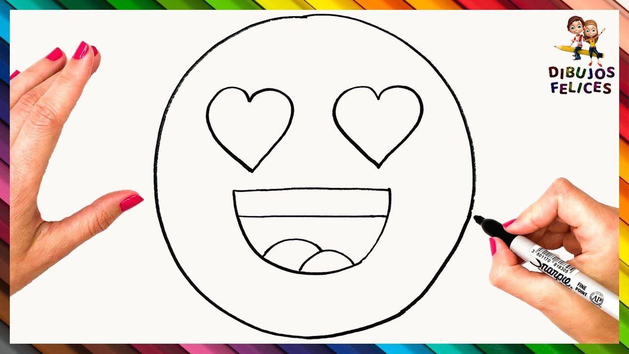 Como Dibujar Un Emoji Enamorado Para Ninos Dibujo De Emoji Enamorado Como Dibujar Un Emoji Emoji Enamorado Dibujos Para Ninos