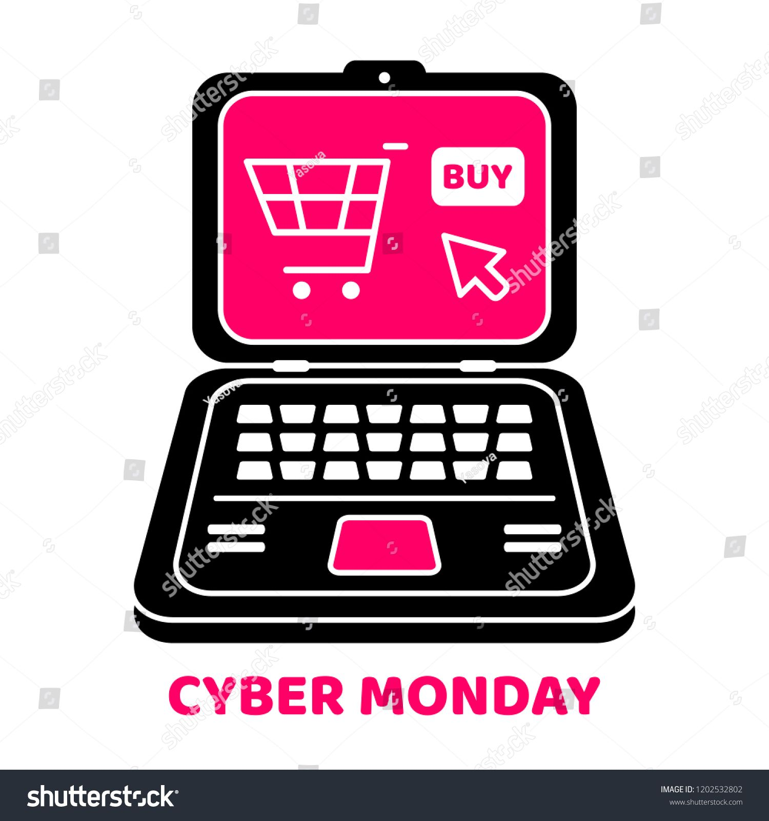 Cyber Monday Design Vector Laptop Computer Holiday Online Shopping Concept On White Backgroun In 2020 Cyber Monday Design Business Technology Holiday Online Shopping