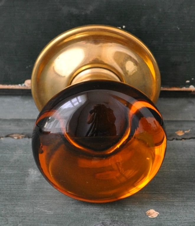 Amber glass and brass door knobs, hand made to order in the U.K ...