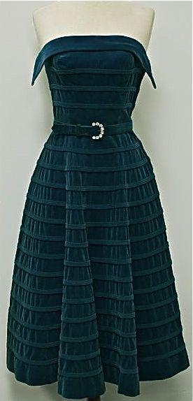 1950's  Velvet teal cocktail dress