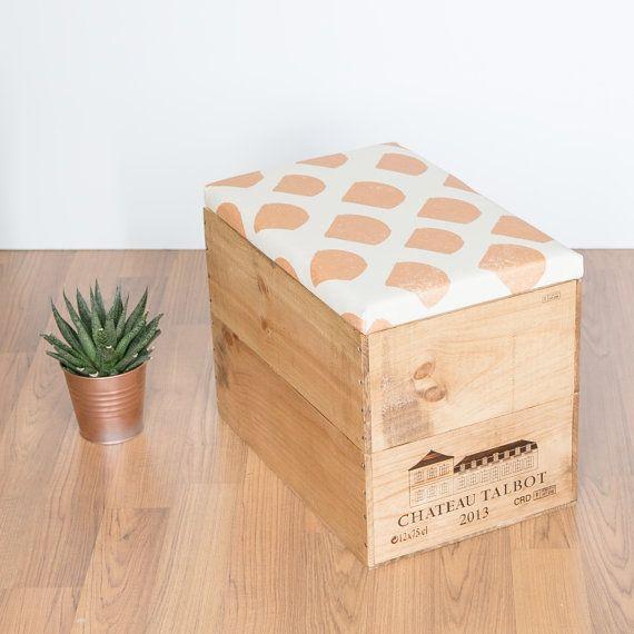 Vin En Bois Recycle Boite Boite De Rangement Pouf Assise Table