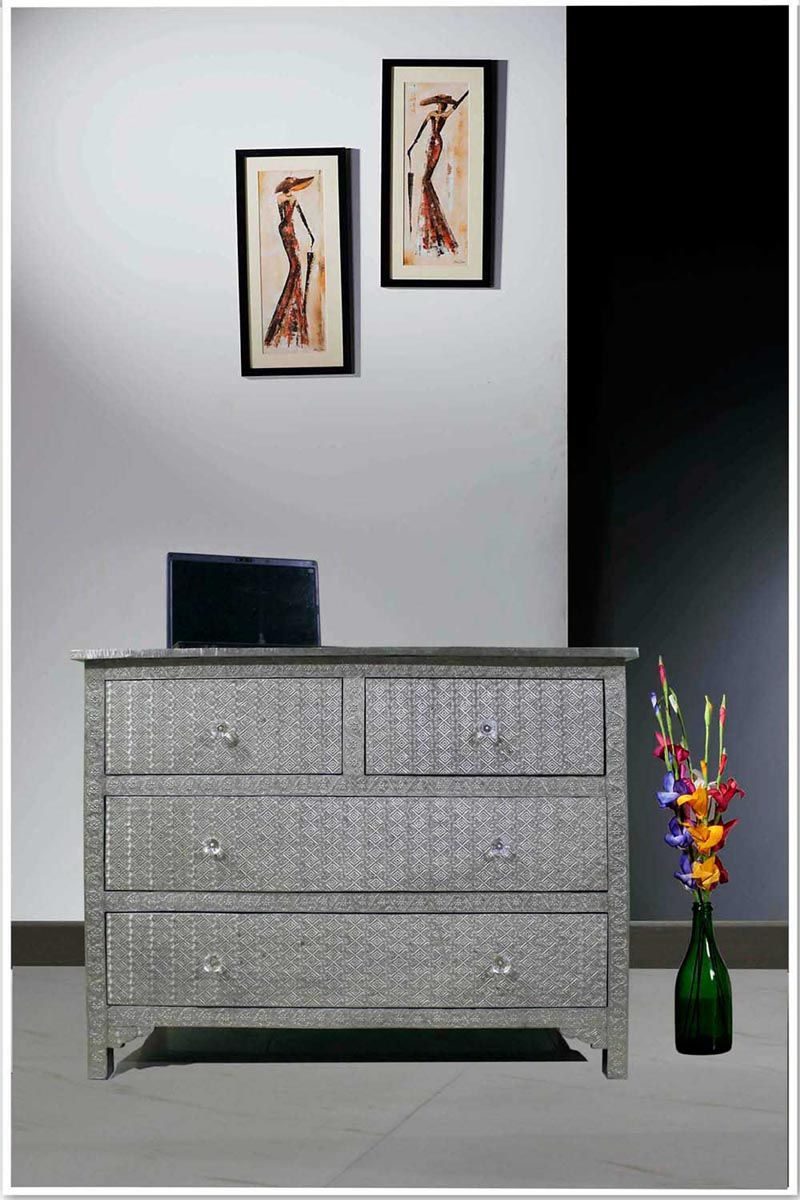 Online Embossed White Metal Chest Of Drawer Bureau Dresser Cabinet