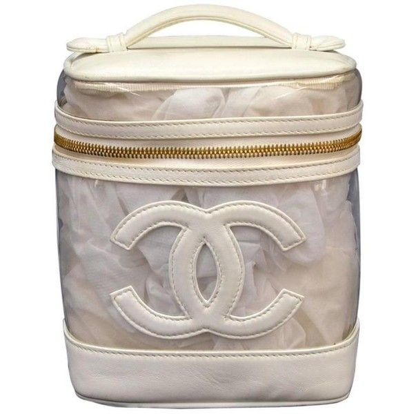 4509bf15bf3c Preowned Chanel Vanity White Leather X Vinyl Cosmetic Hand Bag (665 BAM) ❤  liked on Polyvore featuring beauty products, beauty accessories, bags &  cases, ...