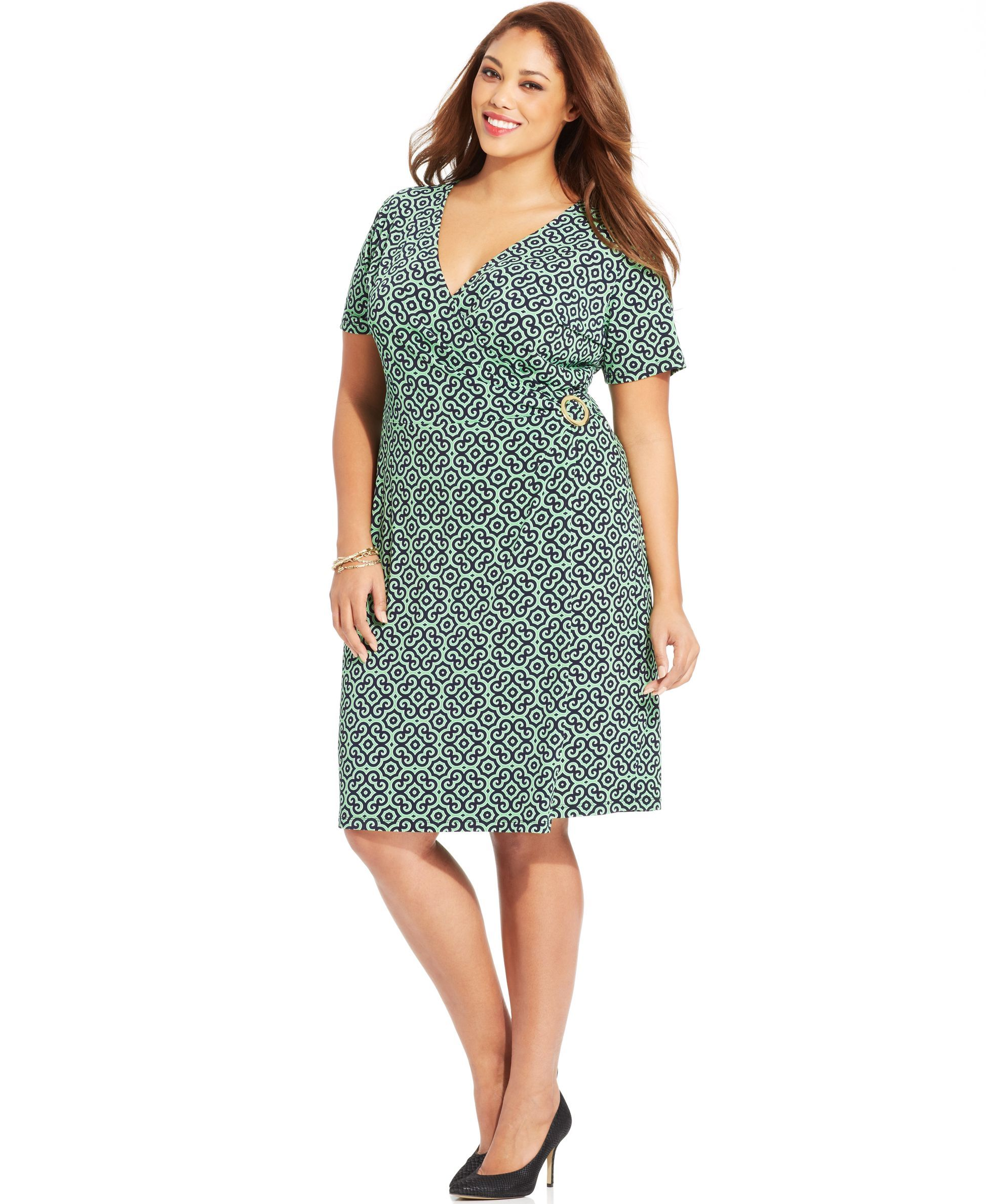 Jones New York Signature Plus Size Short-Sleeve Printed Faux ...