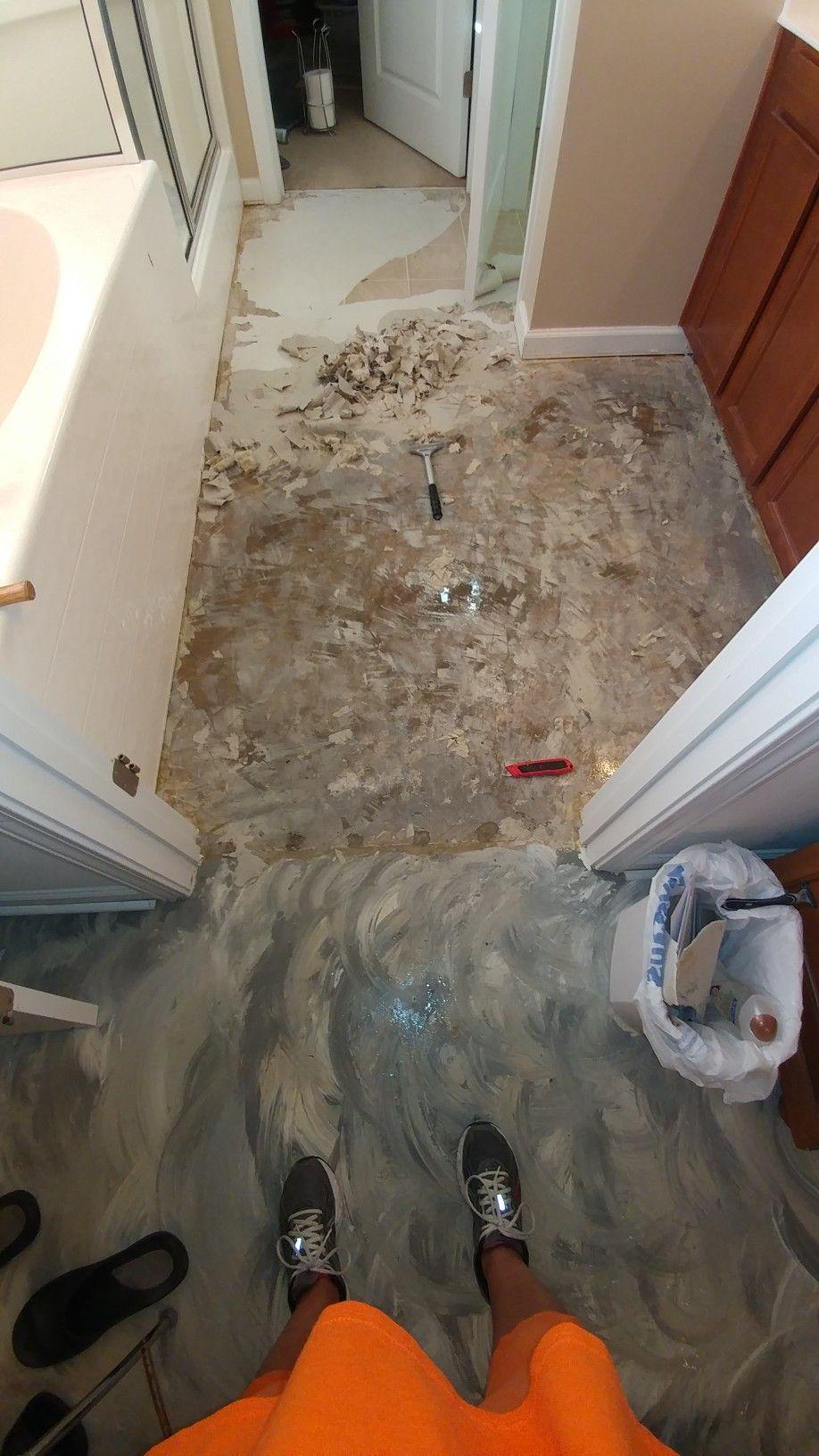 Concrete floor after removing vinyl. Concrete floors