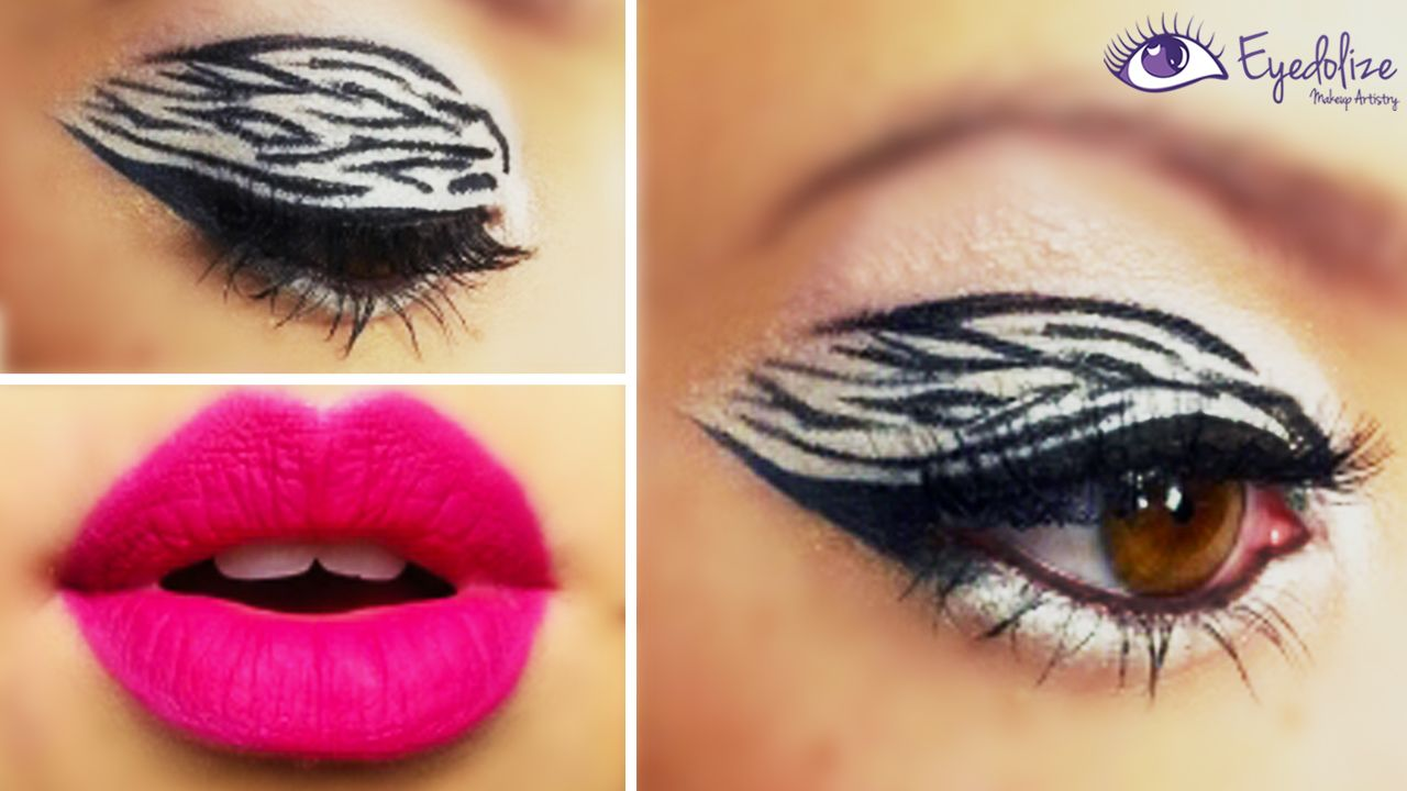 Zebra Print Eyeshadow Creation By Eyedolizemakeup Tutorial On