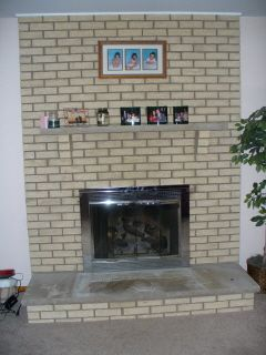 tan brick fireplace - Google Search | Family Room Ideas ...