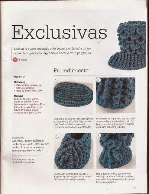 Materiales gráficos Gaby: Tutorial en punto cocodrilo | botines para ...