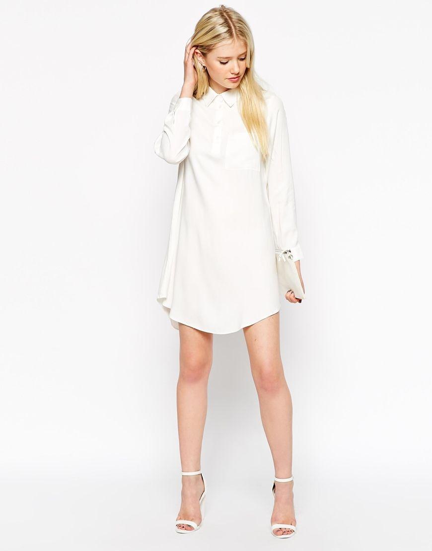 ASOS PETITE Swing Shirt Dress with Long Sleeve at asos.com | White ...