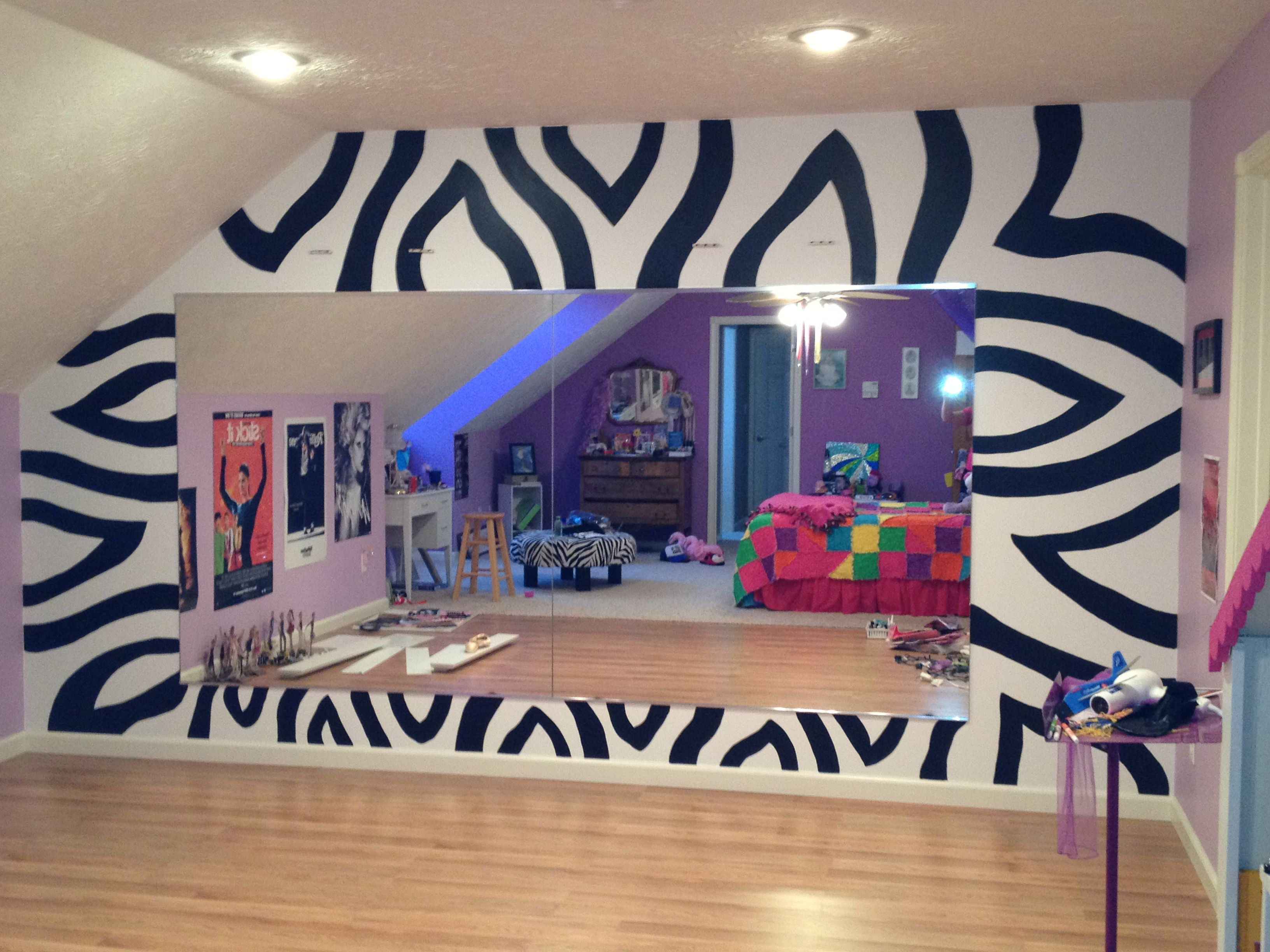 My Daughter's New Zebra Wall :) She Drew On The Design And