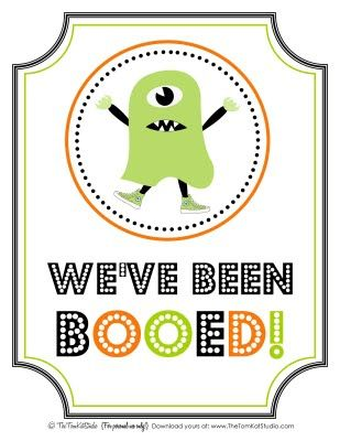 You Ve Been Booed Free Printable We Ve Been Booed Sign Instructions The Tomkat Studio Halloween Printables Free Halloween Printables Boo Sign
