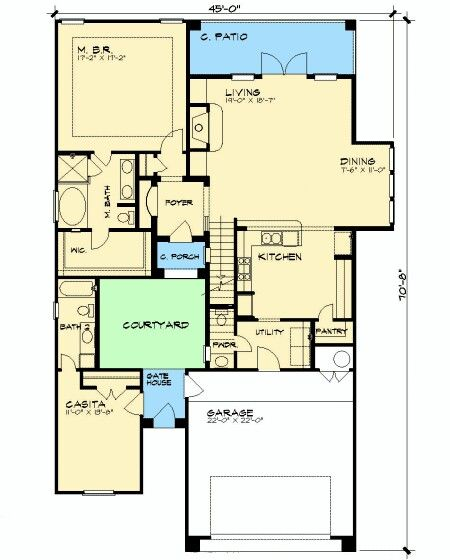 Casa com garagem e patio interior planos casa - Planos de casas con patio interior ...