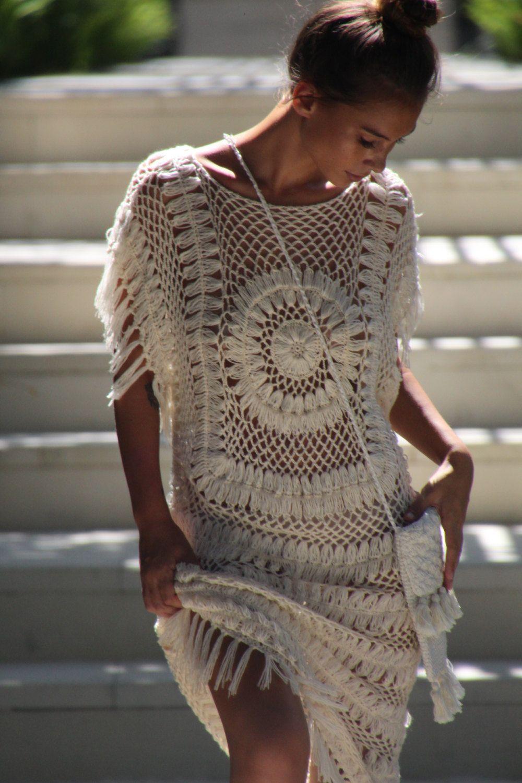 Crochet circle dress, crochet boho fringe dress, beach wedding dress ...