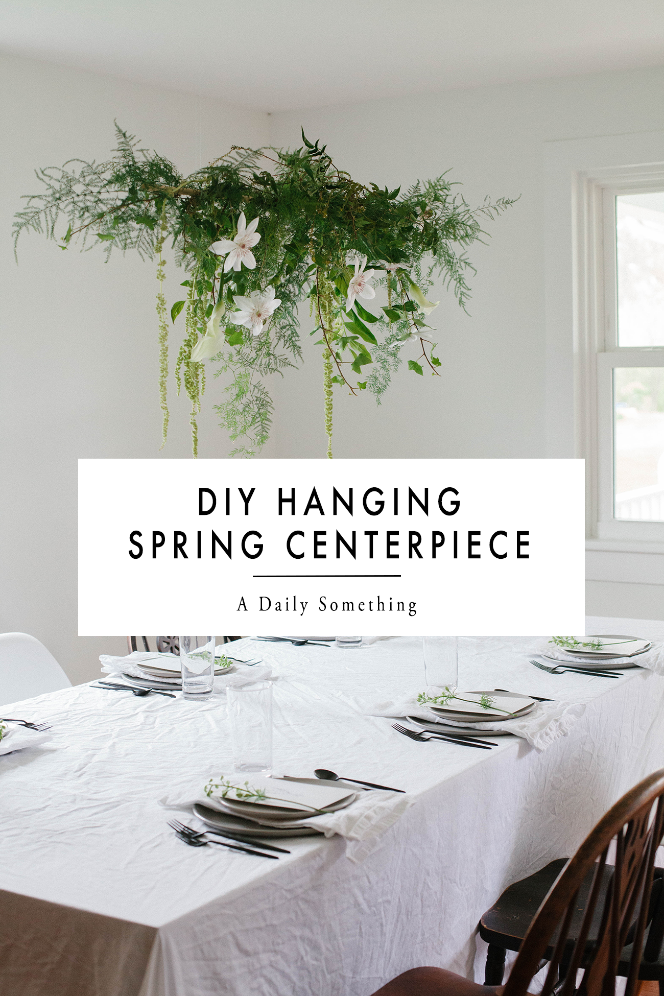Diy Hanging Centerpiece With Greens Spring Flowers A Daily Something Hanging Centerpiece Hanging Flower Arrangements Hanging Flowers Wedding