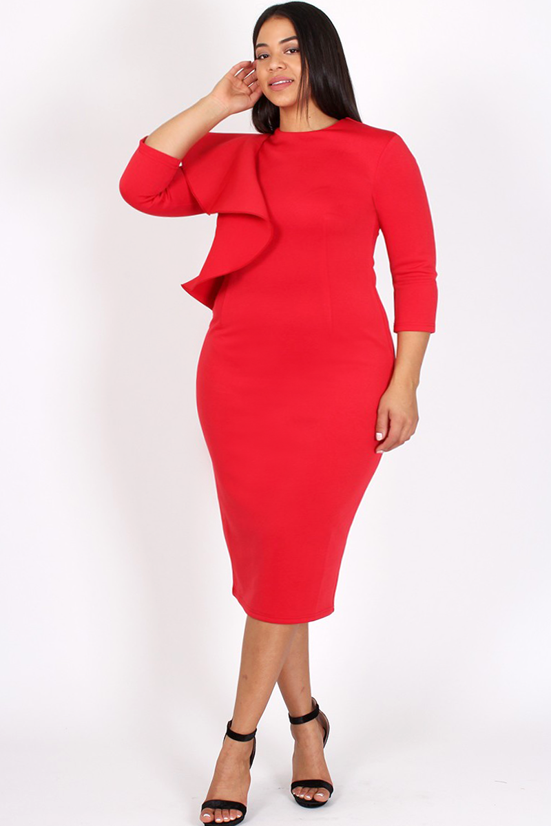 f60267393779 Cocktail Ruffled Shoulder Plus Size Bodycon Dress – slayboo | plus ...
