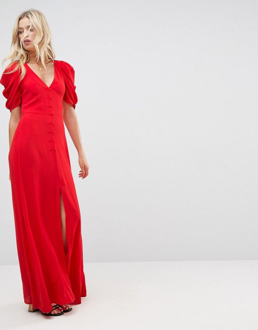 Asos short sleeve button through maxi dress red products