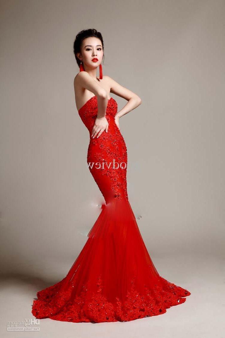 Red Mermaid Tail Wedding Dress