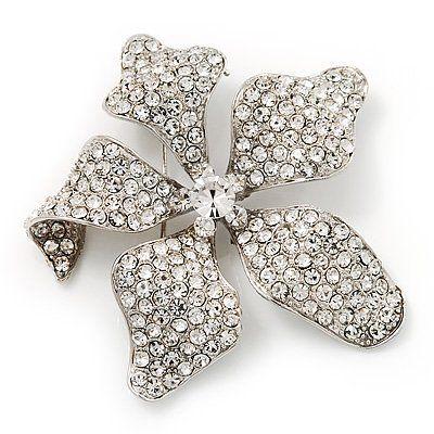 Umwerfender Swarovski-Kristall, Blumen-Brosche, rhodiniertes