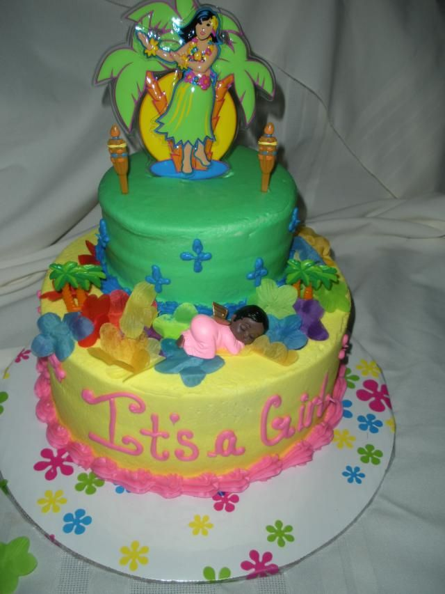 Luau Baby Shower Cake For My NIECE. So Cute! Not Too Difficult To Replicate