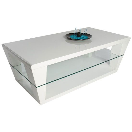 dani white high gloss coffee table with glass shelf | flat