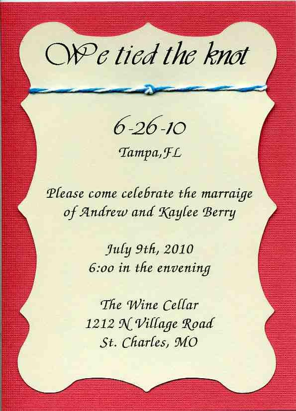 Wedding Reception Invitations - We Tied the Knot - Reception Only ...