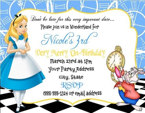 Alice in Wonderland Birthday Party Invitations Custom Personalized