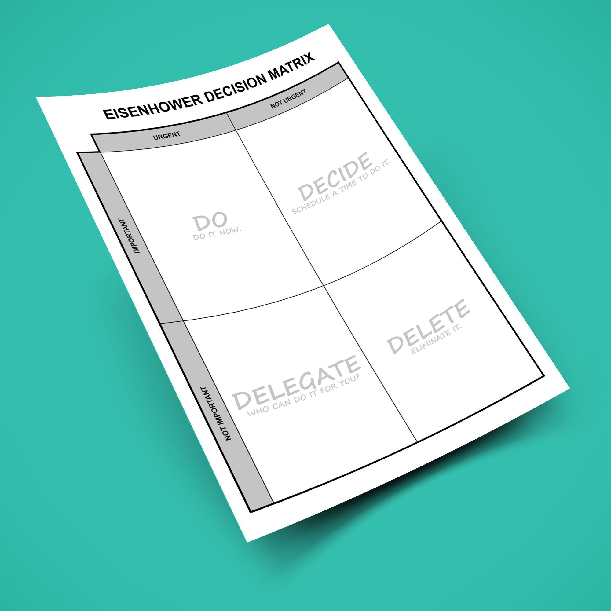 Eisenhower Decision Matrix Editable Printable