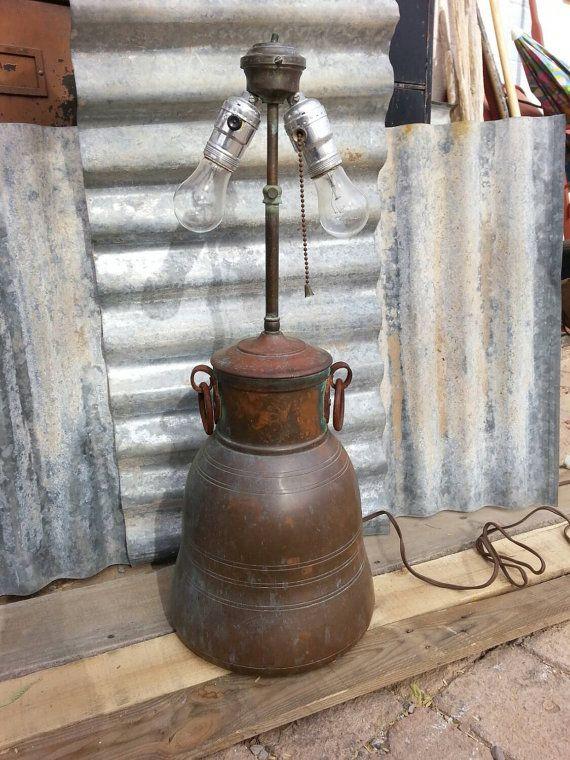 Vintage Lamp Warren Kessler Copper Lamp Milk Jug By Minersdepot Copper Lamps Vintage Lamps Industrial Table Lamp