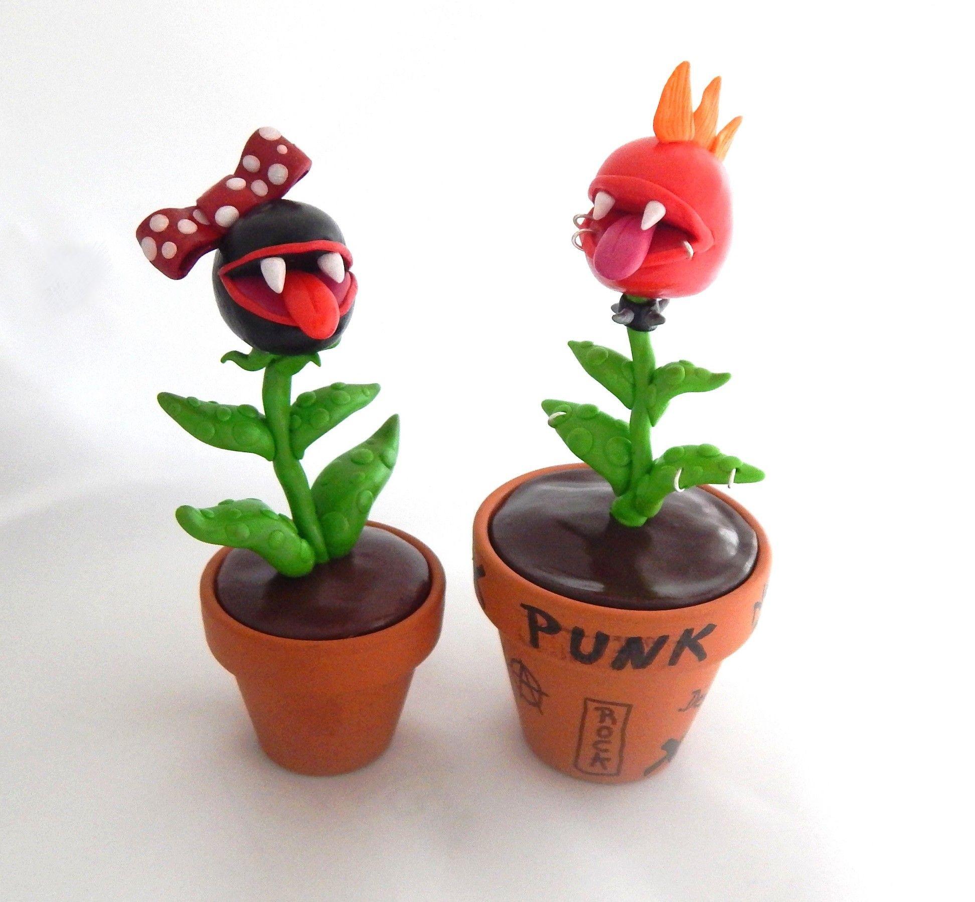couple de plantes carnivores en fimo p te polym re plante carnivore punk et pun up objet. Black Bedroom Furniture Sets. Home Design Ideas