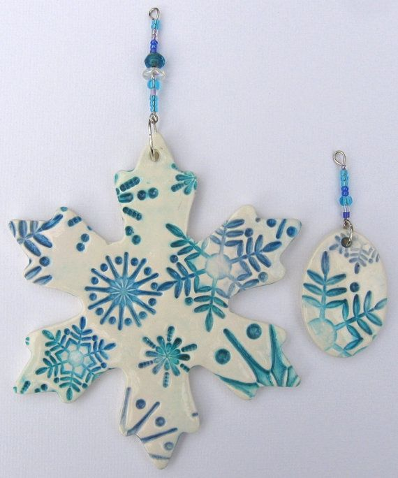 Clearance Turquoise Blue And Periwinkle By Bluemonkeymarket 9 00 Polymer Clay Christmas Polymer Clay Ornaments Christmas Clay