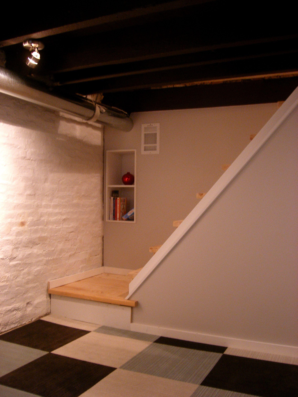 """Basement: paint / flor / IKEA """"built-ins"""""""