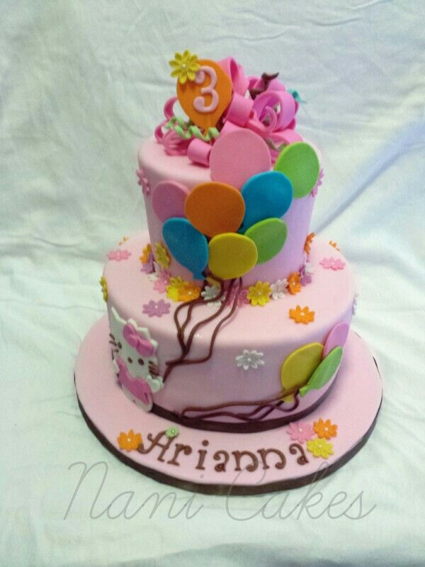 Hello kitty pink cake with balloons.  Fondant.  Guava and dulce de leche.  Pretty in pink.  :)