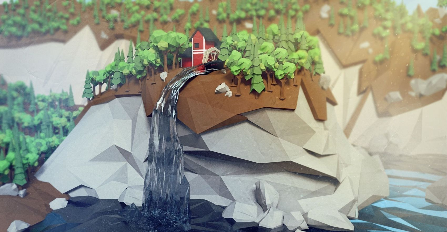 Barn and Waterfall by Jeremy Parker Yang / illustration