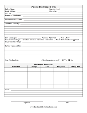 when a patient has been discharged this printable hospital form allows a doctor to summarize. Black Bedroom Furniture Sets. Home Design Ideas