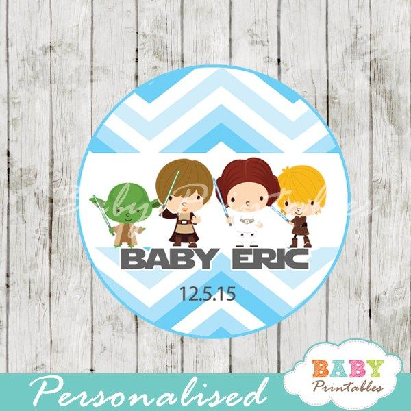 Blue Chevron Star Wars Baby Shower Favor Tags   D205