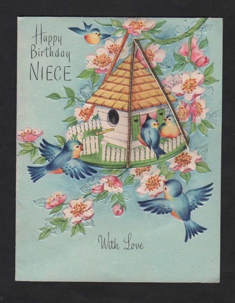 vintage Fairfield Greeting Birthday Niece Card Blue Bird