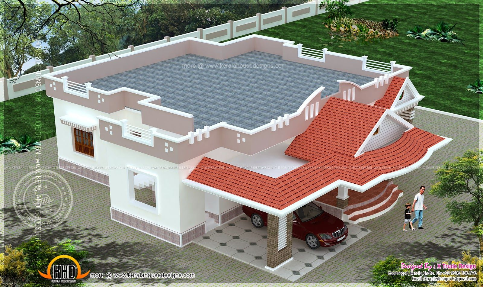 Single flat house front elevation for floor archi hub for Kerala home design flat roof elevation