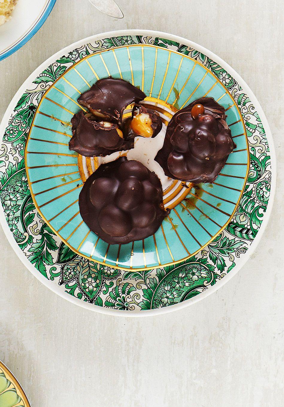 Chocolate-Caramel Macadamia Clusters Recipe - sprinkle sea salt before topping hardens.