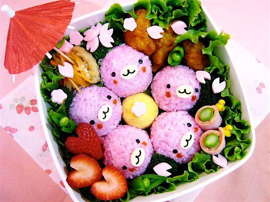 Japanese enjoy eating OHANAMI BENTO with friends, colleagues and family while viewing the beautiful SAKURA cherry blossoms. Restaurant or homemade bentos are extra tasty if you eat them together with your loved ones. This is one of the cutest ones we've seen this year!