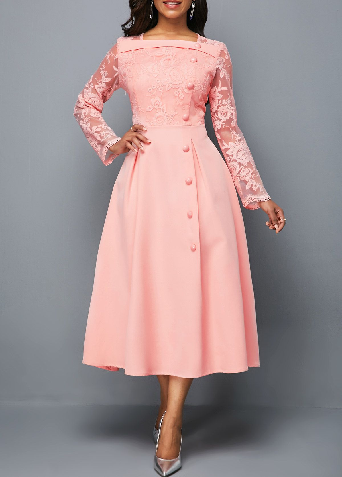 Lace Panel Button Detail Square Neck Dress Rotita Com