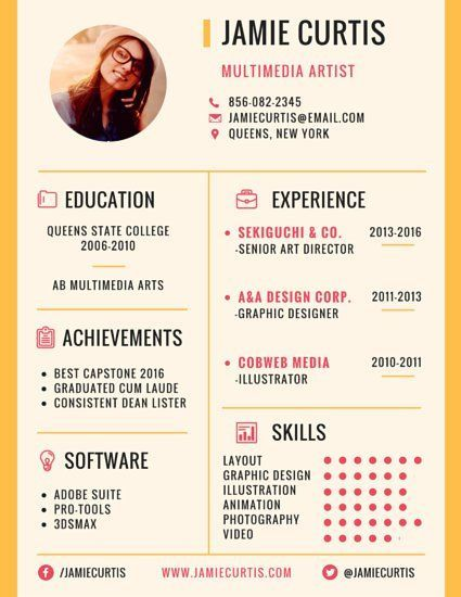Perfect template for a resume or blog media kit Click through to