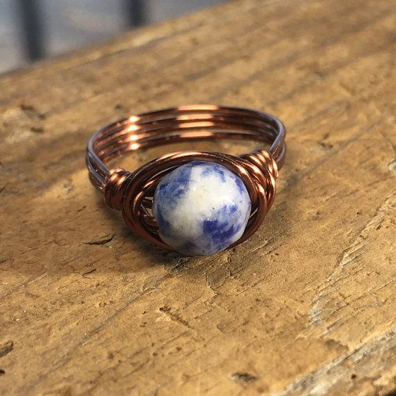 navy blue and white Sodalite faceted gemstone antique copper wire wrapped ring