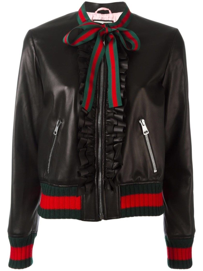 Gucci Black And Web Ruffle Bomber Jacket Black Black Bomber Jacket Bomber Jacket Jackets [ 1120 x 839 Pixel ]
