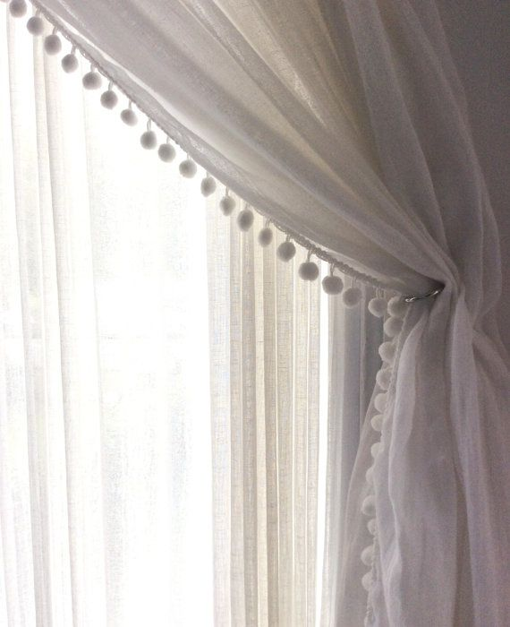 Pair Linen Pom Pom Sheer Curtain Choose Your By TheNewHome - Classic ball fringe curtains
