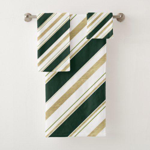 Green Gold White Diagonal Stripes Striped Pattern Bath Towel Set