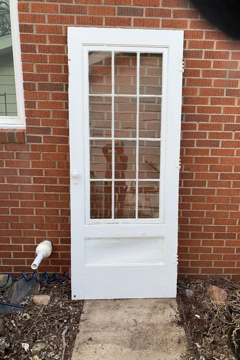 Antique Wood Screen Storm Door Glass Lite Pantry Door