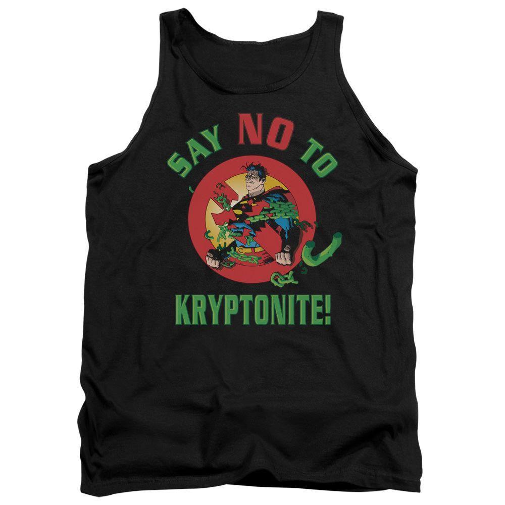 Superman Say No to Kryptonite Black 100% Cotton Tank-Top T-Shirt