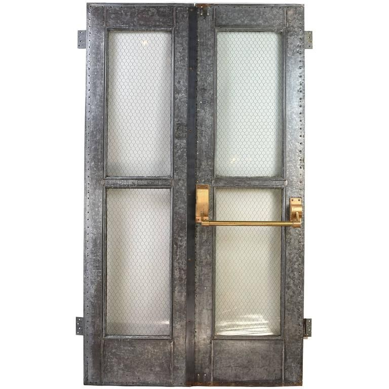 Vintage Industrial Double Door Set with Chicken Wire Glass and Brass ...